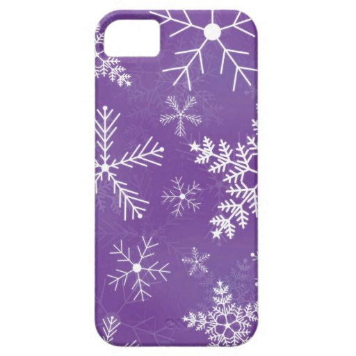 Purple and White Snowflake Pattern iPhone 5 Cover