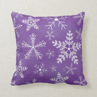 Purple and White Snowflake Pattern Cushion