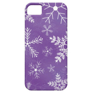 Purple and White Snowflake Pattern iPhone 5 Case