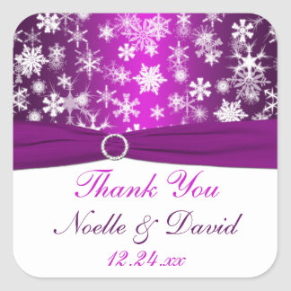 Purple and White Snowflakes Wedding Favor Sticker