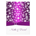 Purple and White Snowflakes Wedding Invitation