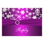 Purple and White Snowflakes Wedding Reply Card Invites