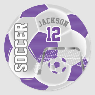 Purple and White Soccer Ball Classic Round Sticker
