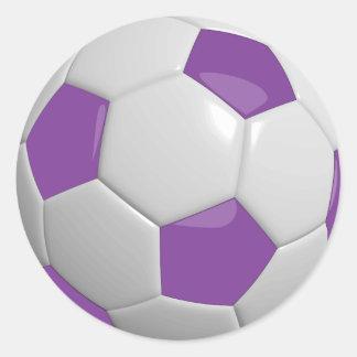 Purple and White Soccer Ball Round Sticker