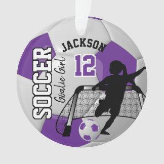 Purple and White Soccer Goalie Girl Ornament
