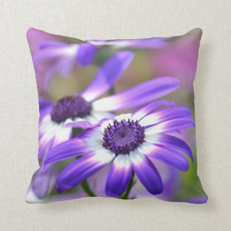 Purple and White Spring Flowers Throw Cushion