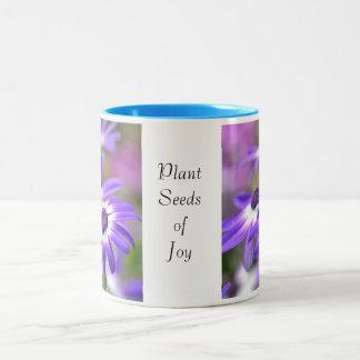 Purple and White Spring Flowers Joy Two-Tone Coffee Mug