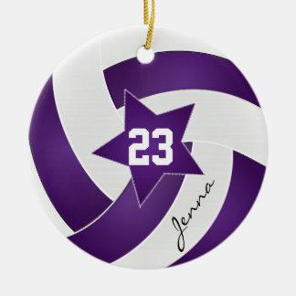 Purple and White Star Volleyball Round Ceramic Decoration