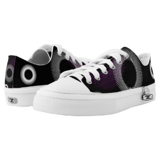 Purple and White Starburst Black Printed Shoes