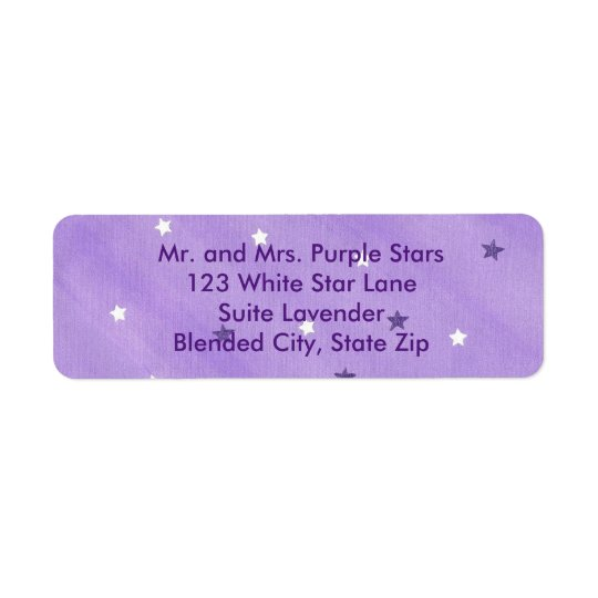 Purple and White Stars Lavender Address Labels