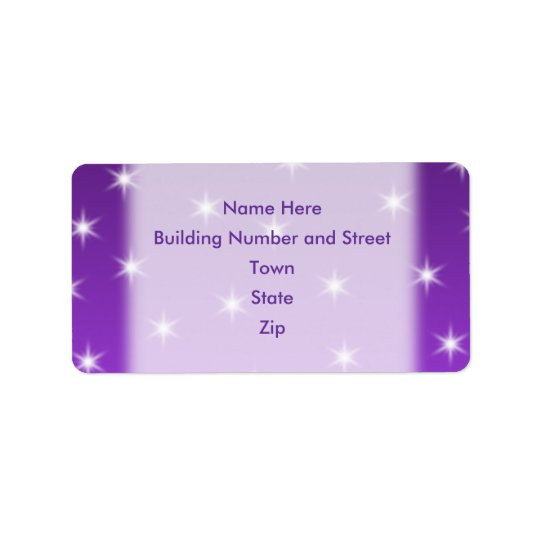 Purple and White Stars, Pattern. Address Label