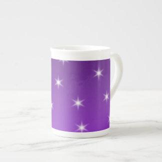 Purple and White Stars, Pattern. Bone China Mug