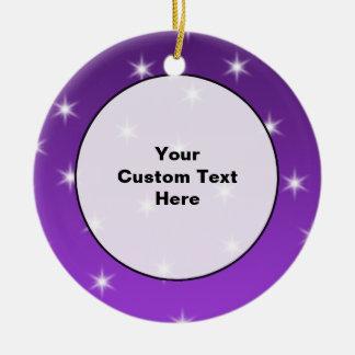 Purple and White Stars, Pattern. Ceramic Ornament