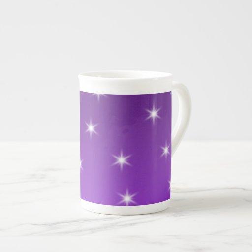 Purple and White Stars, Pattern. Bone China Mugs