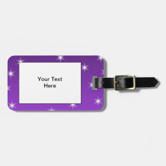 Purple and White Stars, Pattern. Tags For Luggage