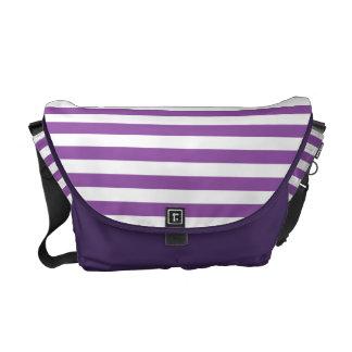 Purple and White Stripe Pattern Commuter Bag