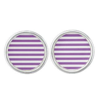 Purple and White Stripe Pattern Cuff Links
