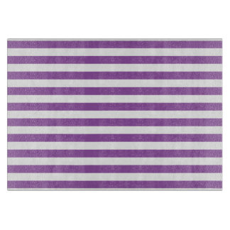Purple and White Stripe Pattern Cutting Board