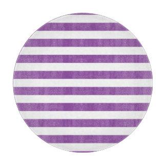 Purple and White Stripe Pattern Cutting Board