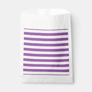 Purple and White Stripe Pattern Favour Bag