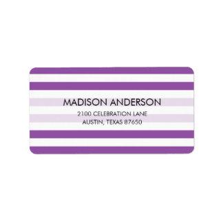 Purple and White Stripe Pattern Label