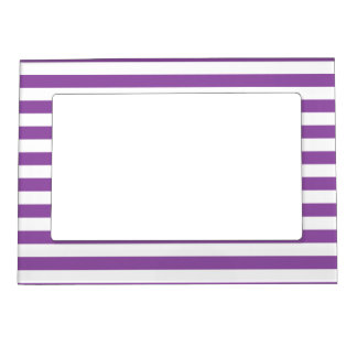 Purple and White Stripe Pattern Magnetic Picture Frame