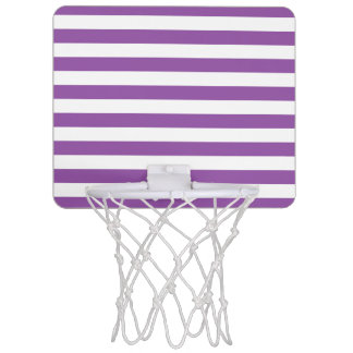 Purple and White Stripe Pattern Mini Basketball Hoop