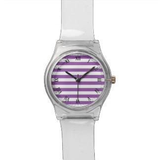 Purple and White Stripe Pattern Watch