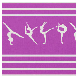 Purple and White Striped Gymnastics Fabric