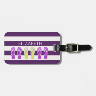 Purple and white stripes with flip flop decor luggage tag