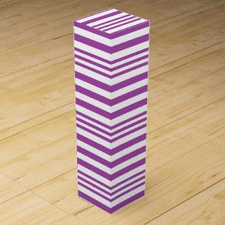 Purple and White Stripes X 3 Wine Box