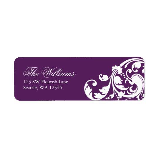 Purple and White Swirl Flourish Return Address Return Address Label