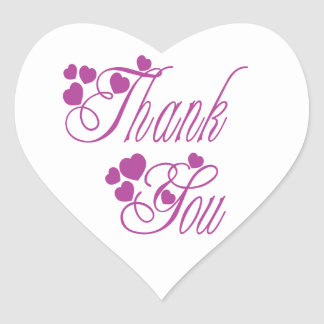 Purple And White Thank You Love Hearts - Wedding Heart Sticker