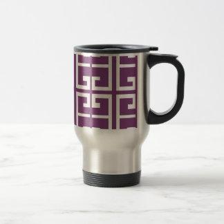 Purple and White Tile Travel Mug