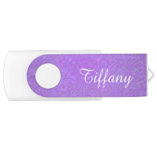 Purple and White USB Flash Drive Swivel USB 2.0 Flash Drive