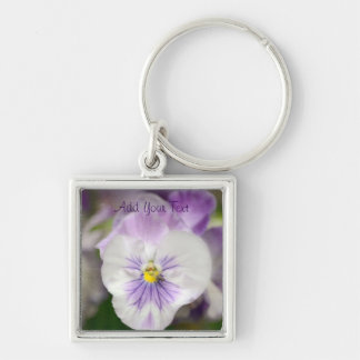 Purple and White Violas by Shirley Taylor Key Ring