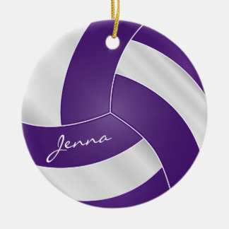 Purple and White Volleyball 2 | DIY Name Ceramic Ornament