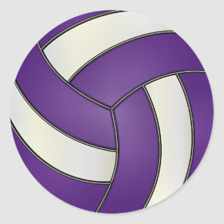 Purple and White Volleyball Round Sticker