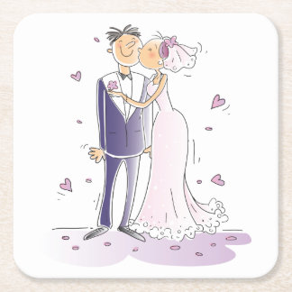 Purple And White Wedding Bride & Groom Cartoon Square Paper Coaster