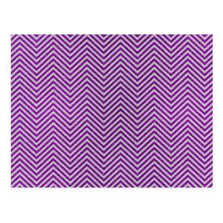 Purple and White Zig Zag Glitter Postcard