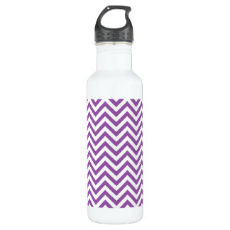 Purple and White Zigzag Stripes Chevron Pattern 710 Ml Water Bottle
