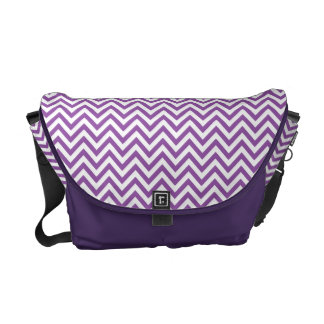 Purple and White Zigzag Stripes Chevron Pattern Courier Bags