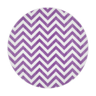 Purple and White Zigzag Stripes Chevron Pattern Cutting Board