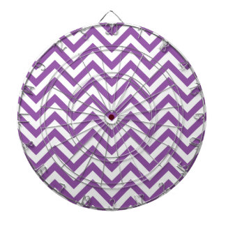 Purple and White Zigzag Stripes Chevron Pattern Dartboard