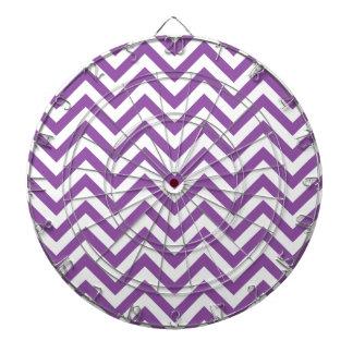 Purple and White Zigzag Stripes Chevron Pattern Dartboard With Darts