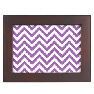 Purple and White Zigzag Stripes Chevron Pattern Keepsake Box