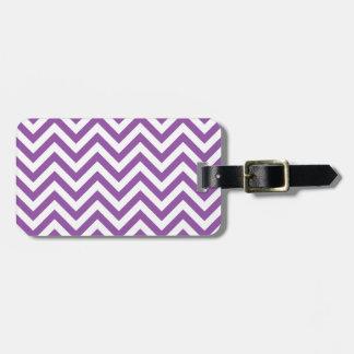 Purple and White Zigzag Stripes Chevron Pattern Luggage Tag