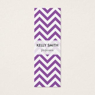 Purple and White Zigzag Stripes Chevron Pattern Mini Business Card