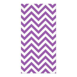 Purple and White Zigzag Stripes Chevron Pattern Photo Card Template