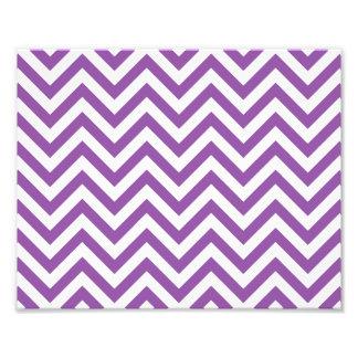 Purple and White Zigzag Stripes Chevron Pattern Photo Print